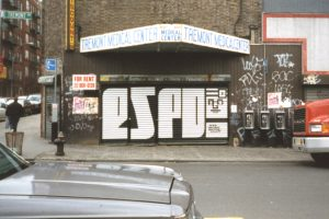 block letter Espo new york gate